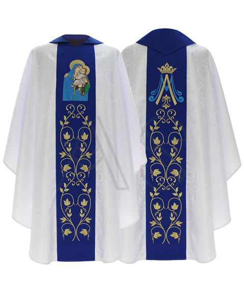 """Chasuble gothique """"Notre dame du scapulaire"""" 453-BN25"""
