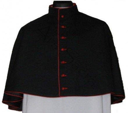Schwarze Mozzetta mit rotem Besatz MOZZ-CZ-C