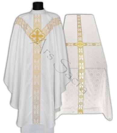 Zestaw Biały ornat semi gotycki + kir pogrzebowy FUGY210-B25