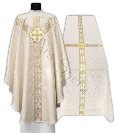 Zestaw Kremowy ornat semi gotycki + kir pogrzebowy FUGY210-K25